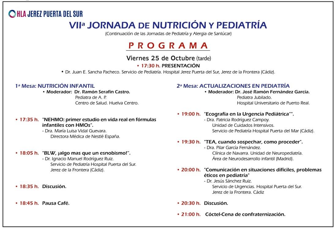 Programa VII Jornada Nutrición y Pediatría